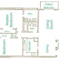 Cameron Heights Menomonee Falls 2Bed 2Bath 1200 V2 floor plan