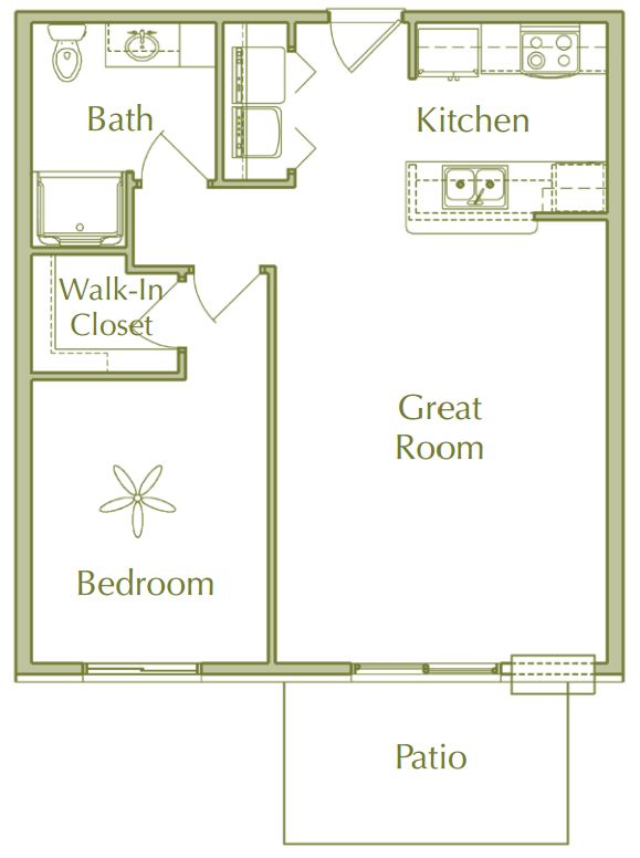 Hidden Ponds Pewaukee apartment 1Bed Ranch floor plan