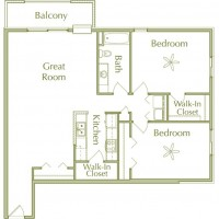 Hidden Ponds Pewaukee apartment 2Bed 1Bath V1 floor plan