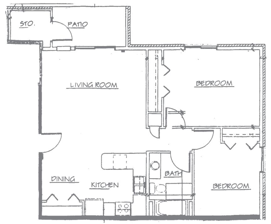 Maple Creek Sussex apartment 2Bed 1stfloor floor plan