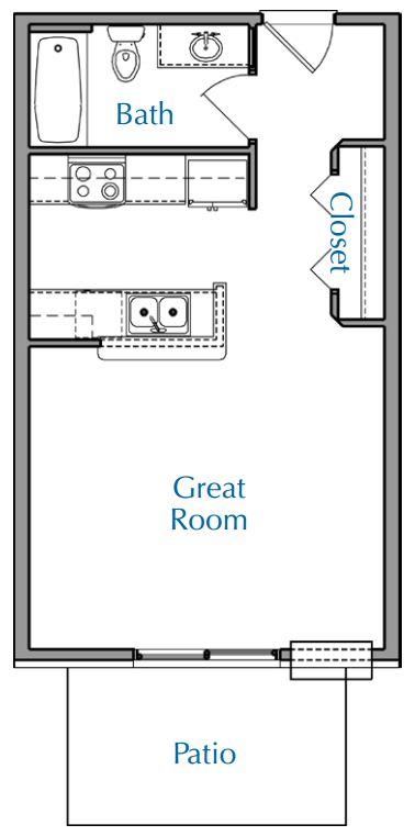 Ridge View Waukesha apartment Studio floor plan