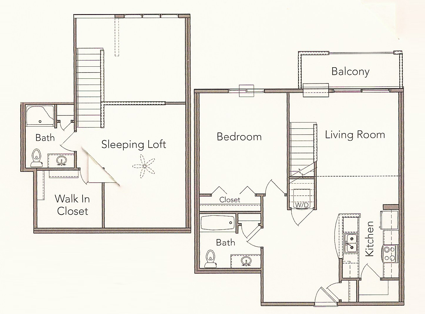 2 Bedroom 2 Bath Loft